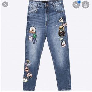 Zara Patch work Camp Jeans